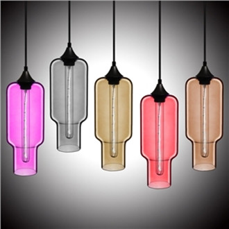 Modern Transparent Glass Pendant Light Hand Blown Colorful with 1 Light
