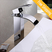 Waterfall Bathroom Sink Faucet Contemporary Design Brass Finish