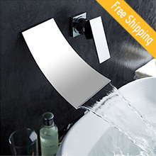Waterfall Widespread Contemporary Bathroom Sink Faucet Chrome Finish